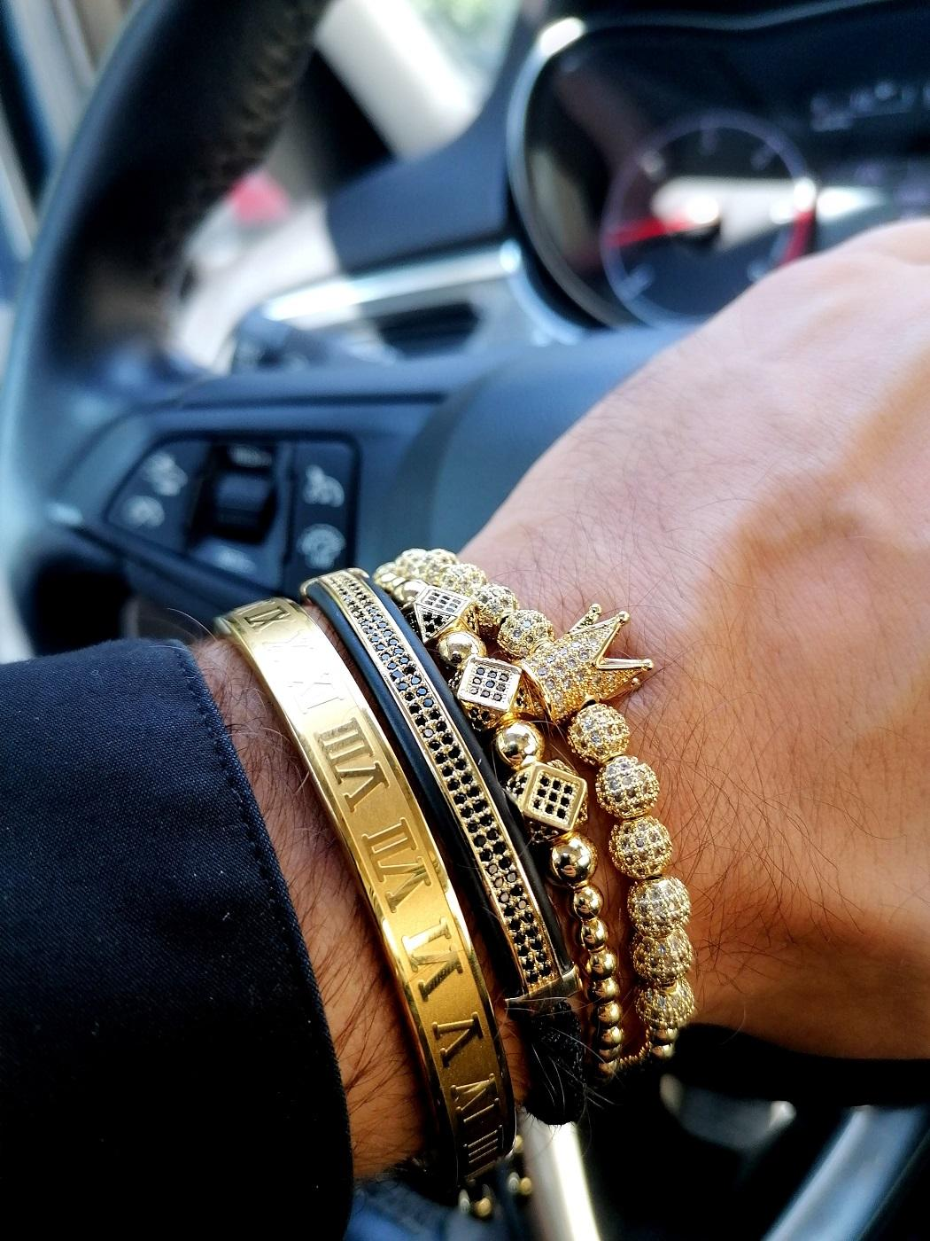 Gold Crown Bracelet Mens Laval