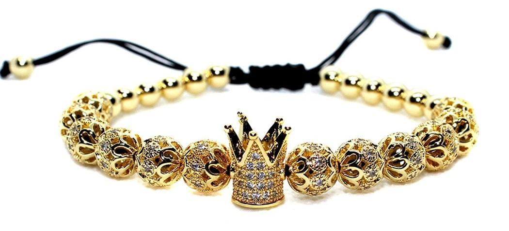 Gold Crown Bracelet Mens Mirabel