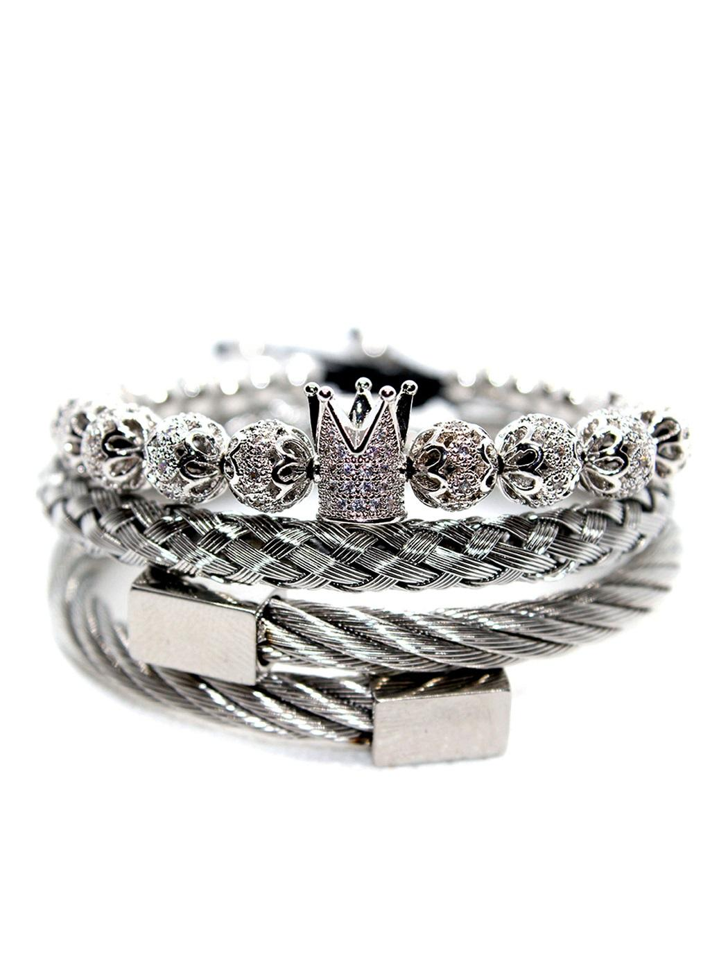 Toronto, Ontario, Montreal, Quebec, Vancouver, British Columbia, Calgary, Alberta, Edmonton, Alberta, Canada, King Crown Bracelet Set, King Crown Bracelets, King Queen Crown Bracelet, Men's Diamond Bracelet In Stainless Steel, Men's Diamond Jewelry For Sale, Men's Double Braided Bracelet, Men's King Crown Bracelet, Mens Beaded Bracelets Jewelry, Mens Bracelet, Mens Bracelet Online, New York Bracelet Silver Jewelry for men